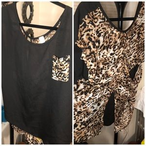 Black & Leopard Pocket Blouse